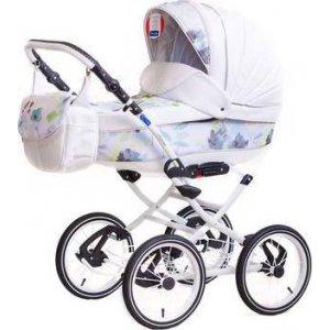 Классическая коляска 2в1 Adamex Katrina 2S Голубой-Белая кожа