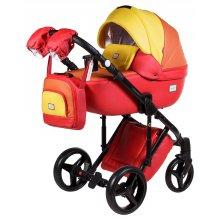 Коляска 2в1 Adamex Luciano Q269 Красный / Оранжевый / Желтый (эко-кожа)