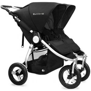 Прогулочная коляска для двойни Bumbleride Indie Twin Silver Black