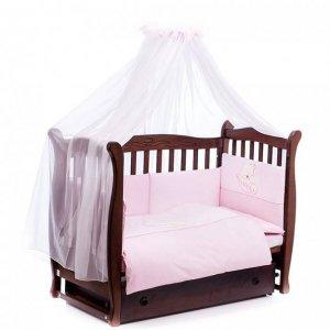 Постельный комплект Mioobaby Sleeping Bear розовый, 7 эл.